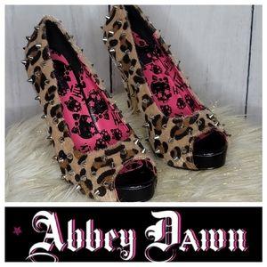 Abbey Dawn Cheetah print fur heels
